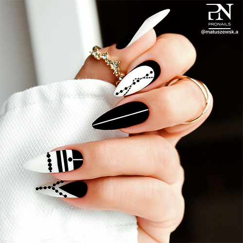 Cute hand painted matte black and white acrylic almond nails set