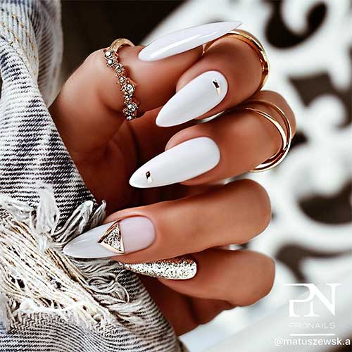 white almond nails with glitter accent nail and mirrored gold stickers