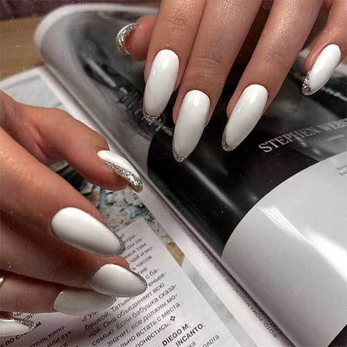 Silver Glitter French Tip on Almond Nails White Long