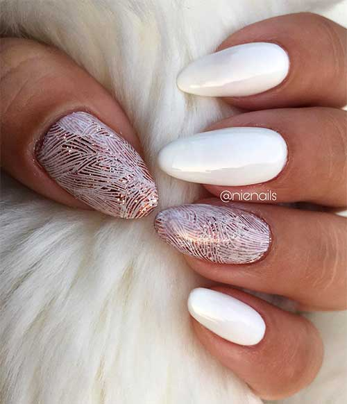 Glossy White Almond Acrylic Nails with Glitter Stamping Accent Nail Design