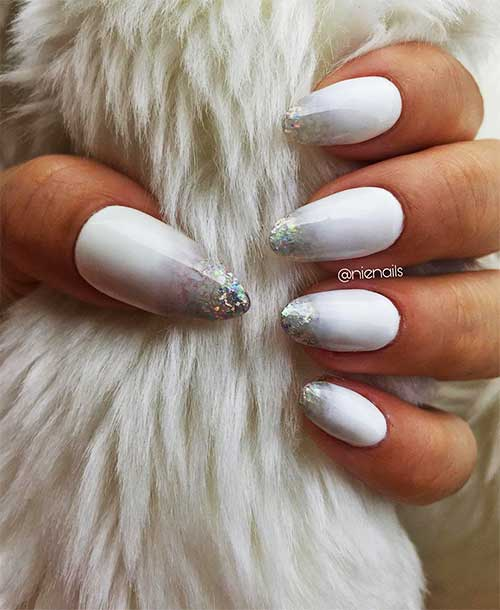 Cute white almond nails with glitter tips Design