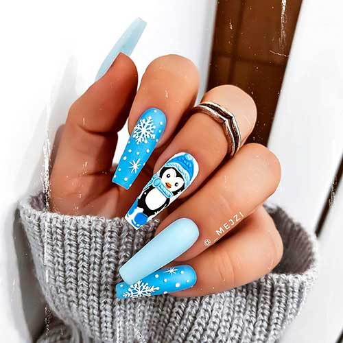 Cute Baby Blue Penguin Nails Art with two accent snowflake nails 2020 for celebration!