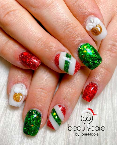 Cute Square shaped red and green glitter Christmas nails 2020 design