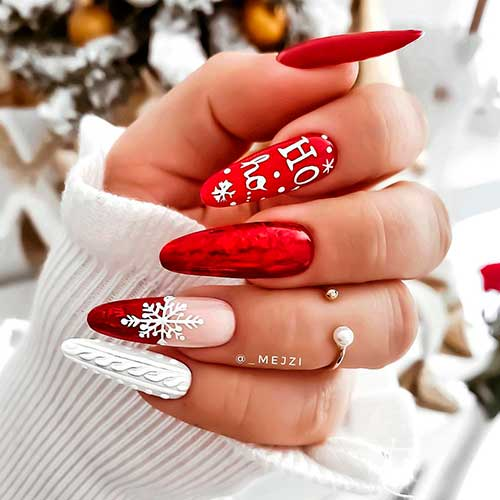 Cute almond shaped red Christmas snowflake nails 2020 design.