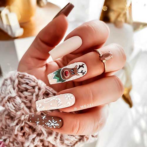 Cute matte coffin shaped Cozy with The Reindeer Christmas nails 2020 with accent matte brown snowflake nail design