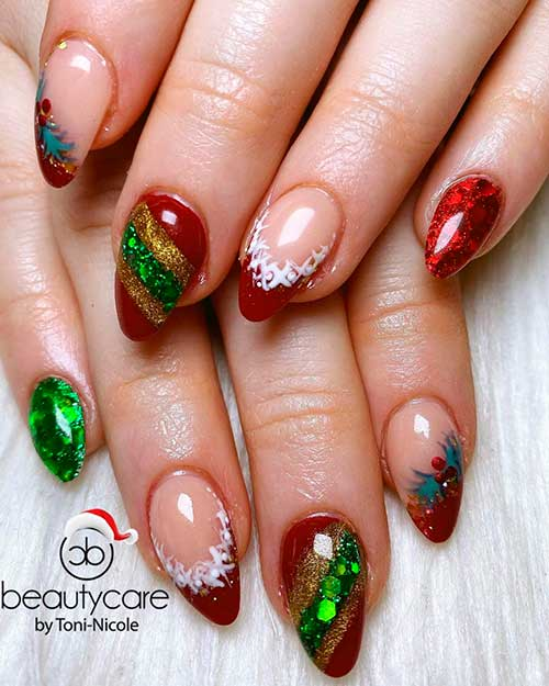 Cute short almond dark red and green Christmas nails 2020 idea